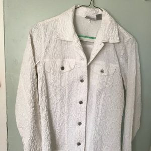 Chico's brocade white shirt jacket in size 0